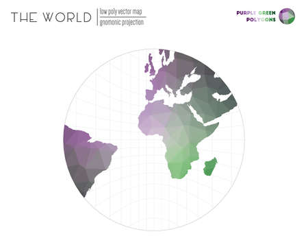 World map with vibrant triangles. Gnomonic projection of the world. Purple Green colored polygons. Beautiful vector illustration.  イラスト・ベクター素材
