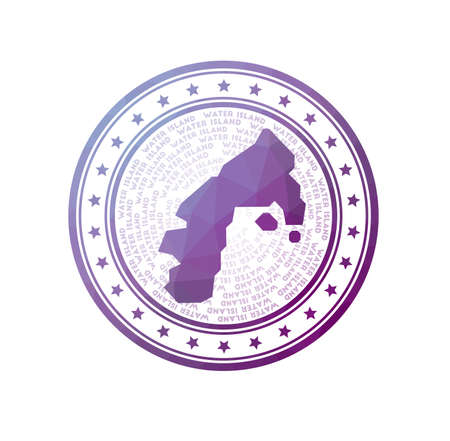 Flat low poly stamp of Water Island. Polygonal Water Island badge. Trendy vector   of the island. Çizim