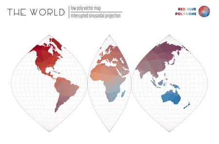 Triangular mesh of the world. Interrupted sinusoidal projection of the world. Red Blue colored polygons. Trending vector illustration.