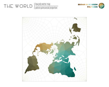 Low poly world map. Peirce quincuncial projection of the world. Brown Blue Green colored polygons. Trending vector illustration. Çizim