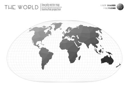 Triangular mesh of the world. Loximuthal projection of the world. Grey Shades colored polygons. Amazing vector illustration.