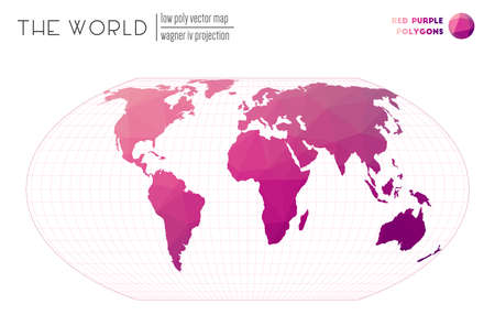 Low poly design of the world. Wagner IV projection of the world. Red Purple colored polygons. Creative vector illustration.