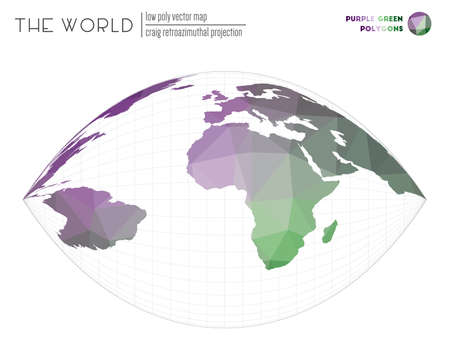 Polygonal world map. Craig retroazimuthal projection of the world. Purple Green colored polygons. Beautiful vector illustration.