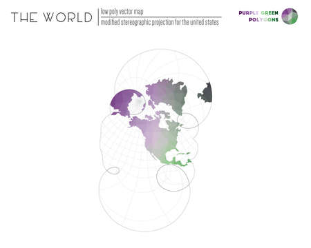Vector map of the world. Modified stereographic projection for the United States of the world. Purple Green colored polygons. Stylish vector illustration.