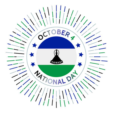 Lesotho national day badge. Independence from the United Kingdom in 1966. Celebrated on October 4.