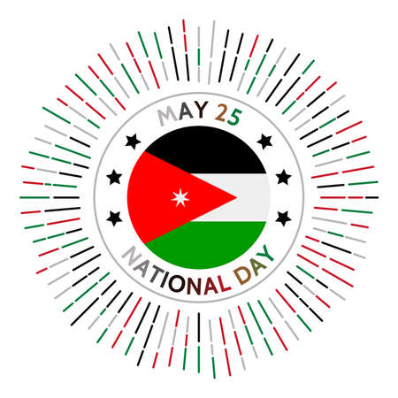 Jordan national day badge. Independence from the United Kingdom in 1946. Celebrated on May 25.