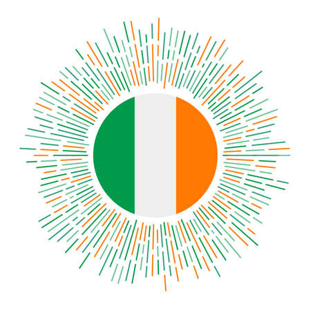 Ireland sign. Country flag with colorful rays. Radiant sunburst with Ireland flag. Vector illustration.