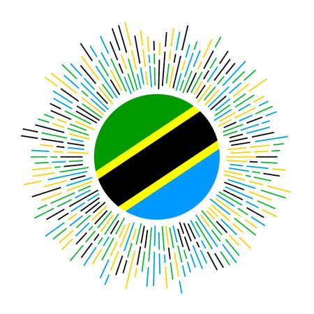 Tanzania sign. Country flag with colorful rays. Radiant sunburst with Tanzania flag. Vector illustration.
