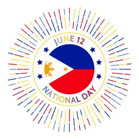 Philippines national day badge. Commemorates 1898 declaration by Emilio Aguinaldo during the Philippine Revolution against Spain. Celebrated on June 12. Çizim