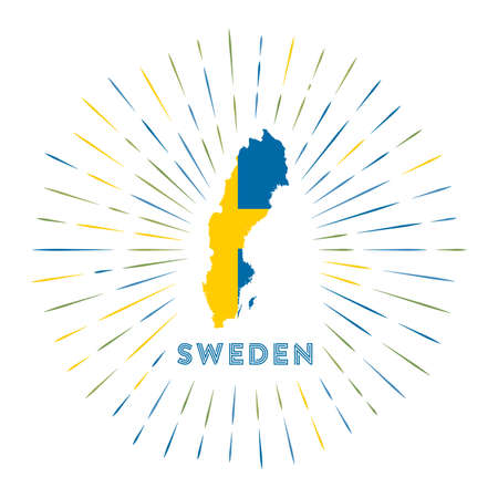 Sweden sunburst badge. The country sign with map of Sweden with Swedish flag. Colorful rays. Vector illustration. Çizim