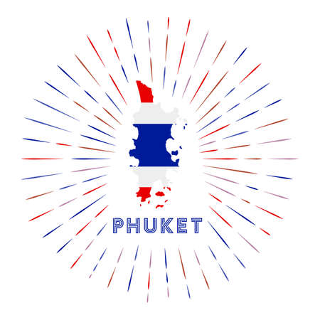 Phuket sunburst badge. The island sign with map of Phuket with Thai flag. Colorful rays. Vector illustration.