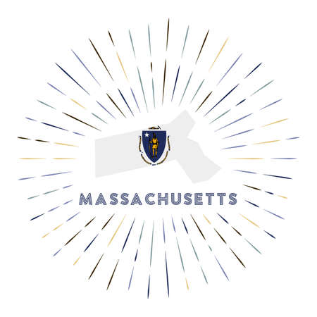 Massachusetts sunburst badge. The us state sign with map of Massachusetts with state flag. Colorful rays. Vector illustration.