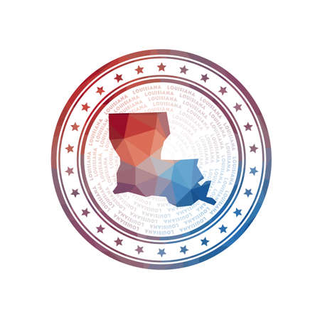 Flat low poly stamp of Louisiana. Polygonal Louisiana badge. Trendy vector   of the us state. 向量圖像