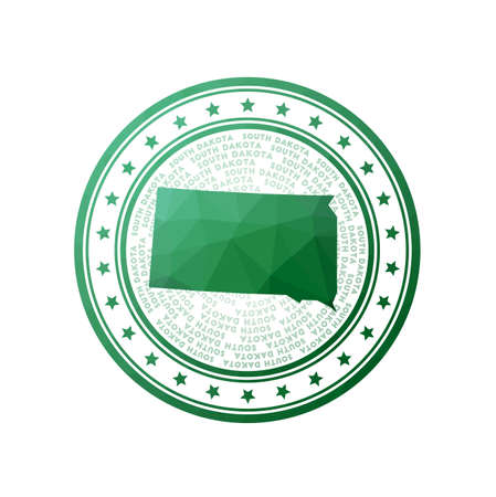Flat low poly stamp of South Dakota. Polygonal South Dakota badge. Trendy vector   of the us state.