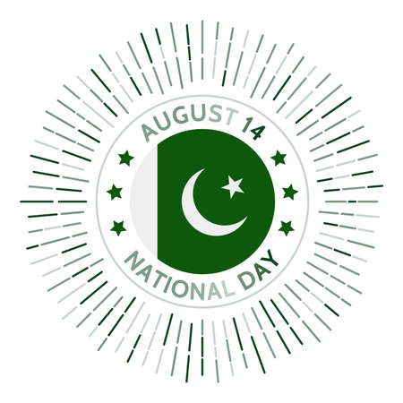Pakistan national day badge. Independence from the United Kingdom in 1947. Celebrated on August 14. 向量圖像