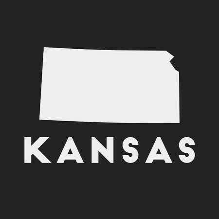 Kansas icon. Us state map on dark background. Stylish Kansas map with us state name. Vector illustration.