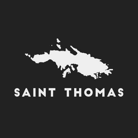 Saint Thomas icon. Island map on dark background. Stylish Saint Thomas map with island name. Vector illustration. Çizim