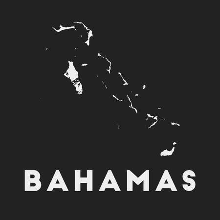 Bahamas icon. Country map on dark background. Stylish Bahamas map with country name. Vector illustration. Çizim