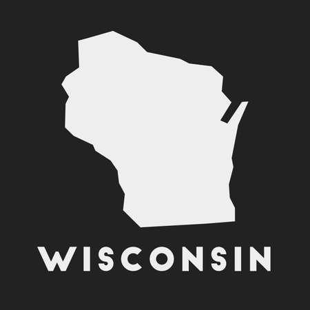 Wisconsin icon. Us state map on dark background. Stylish Wisconsin map with us state name. Vector illustration.