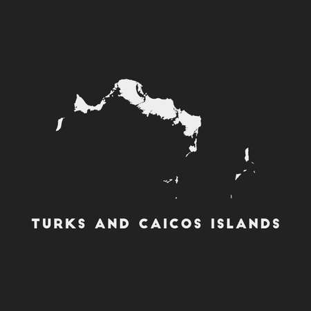 Turks and Caicos Islands icon. Island map on dark background. Stylish Turks and Caicos Islands map with island name. Vector illustration. Çizim