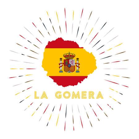 La Gomera sunburst badge. The island sign with map of La Gomera with Spanish flag. Ilustrace