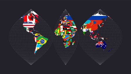 Map of the world with flags. Interrupted sinusoidal projection. Map of the world with meridians on dark background. Vector illustration. 向量圖像