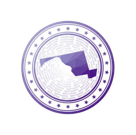 Flat low poly stamp of Maryland. Polygonal Maryland badge. 向量圖像