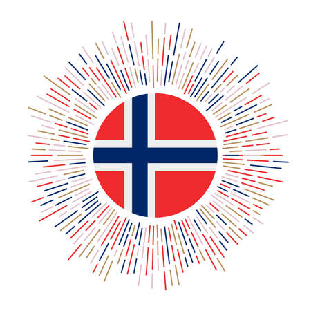 Norway sign. Country flag with colorful rays. Radiant sunburst with Norway flag. Vector illustration.
