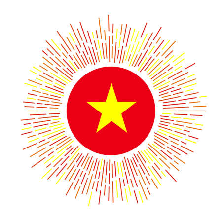 Vietnam sign. Country flag with colorful rays. Radiant sunburst with Vietnam flag. Vector illustration.