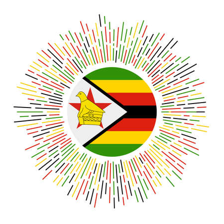 Zimbabwe sign. Country flag with colorful rays. Radiant sunburst with Zimbabwe flag. Vector illustration.