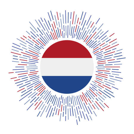 Netherlands sign. Country flag with colorful rays. Radiant sunburst with Netherlands flag. Vector illustration.