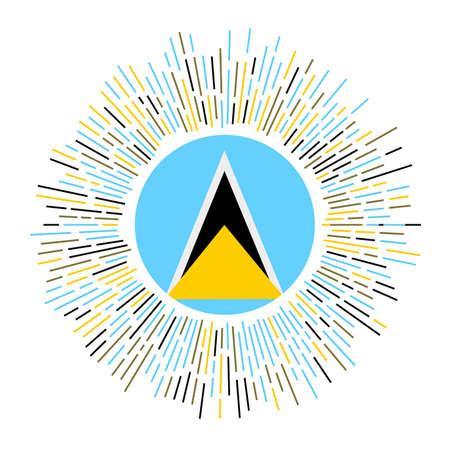 Saint Lucia sign. Country flag with colorful rays. Radiant sunburst with Saint Lucia flag. Vector illustration. Ilustrace