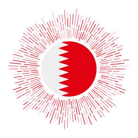 Bahrain sign. Country flag with colorful rays. Radiant sunburst with Bahrain flag. Vector illustration.