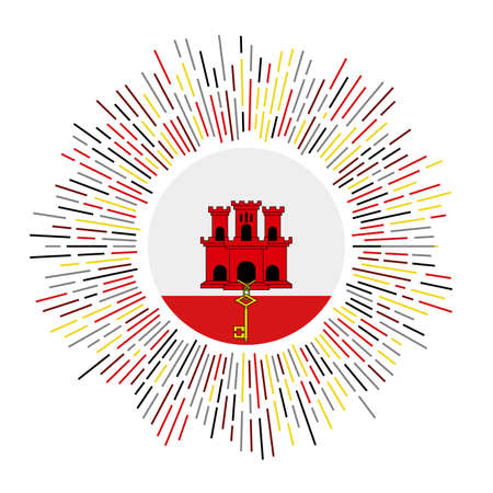 Gibraltar sign. Country flag with colorful rays. Radiant sunburst with Gibraltar flag. Vector illustration.