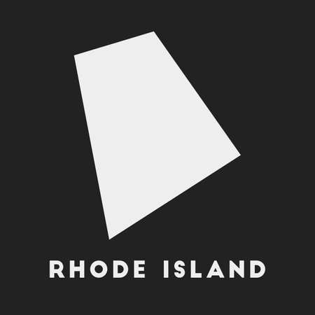 Rhode Island icon. Us state map on dark background. Stylish Rhode Island map with us state name. Vector illustration. Çizim
