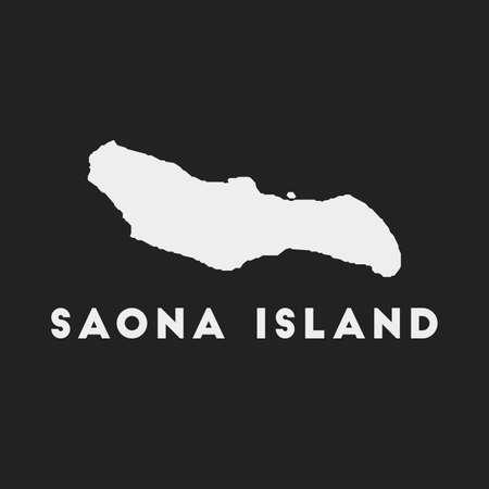 Saona Island icon. Island map on dark background. Stylish Saona Island map with island name. Vector illustration. Çizim