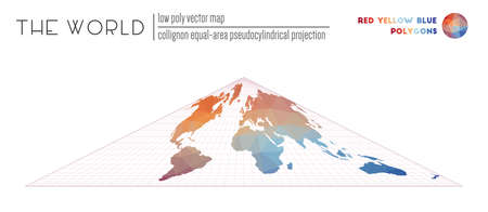 Low poly design of the world. Collignon equal-area pseudocylindrical projection of the world. Red Yellow Blue colored polygons. Awesome vector illustration.