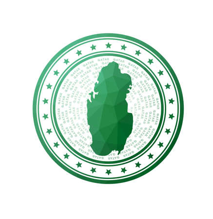 Flat low poly stamp of Qatar. Polygonal Qatar badge. Trendy vector   of the country.