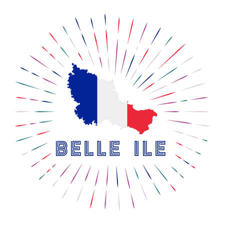 Belle Ile sunburst badge. The island sign with map of Belle Ile with French flag.