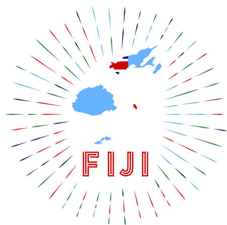 Fiji sunburst badge. The country sign with map of Fiji with Fijian flag. Illusztráció