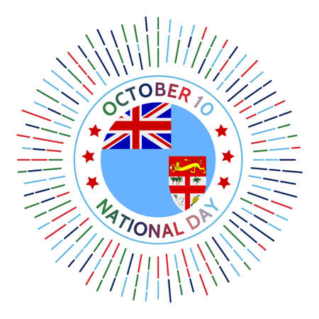 Fiji national day badge. Independence from the United Kingdom in 1970. Celebrated on October 10. 向量圖像