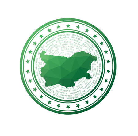 Flat low poly stamp of Bulgaria. Polygonal Bulgaria badge.