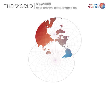 Vector map of the world. Modified stereographic projection for the Pacific ocean of the world. Red Blue colored polygons. Trending vector illustration.
