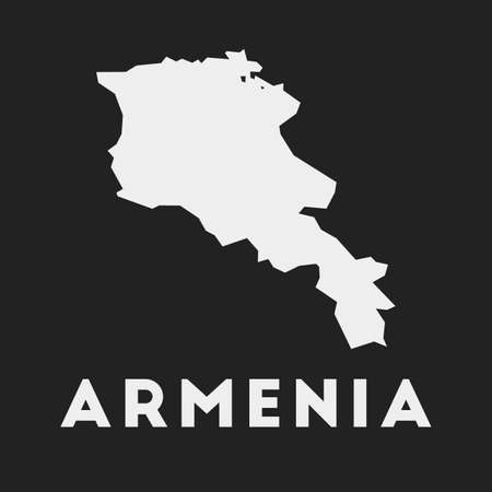 Armenia icon. Country map on dark background. Stylish Armenia map with country name. Vector illustration.