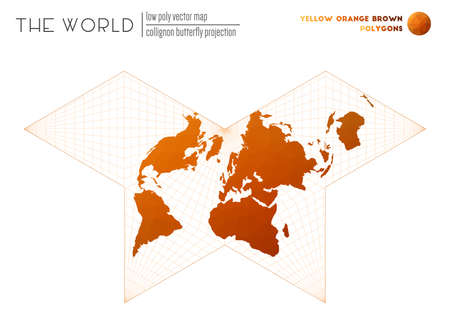Abstract world map. Collignon butterfly projection of the world. Yellow Orange Brown colored polygons. Trending vector illustration.