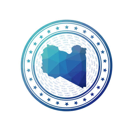 Flat low poly stamp of Libya. Polygonal Libya badge. Trendy vector  of the country. Illusztráció