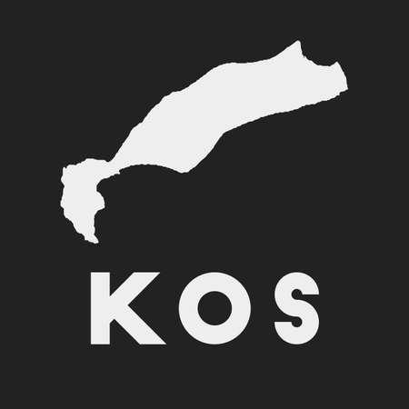Kos icon. Island map on dark background. Stylish Kos map with island name. Vector illustration. Çizim