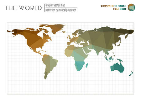 World map with vibrant triangles. Patterson cylindrical projection of the world. Brown Blue Green colored polygons. Beautiful vector illustration.