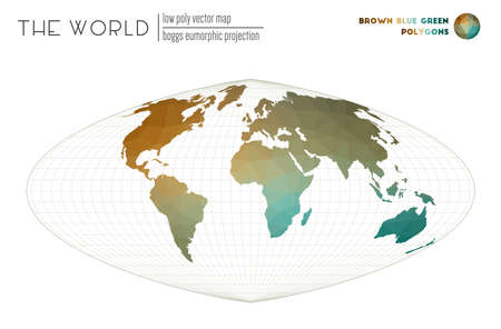 Low poly world map. Boggs eumorphic projection of the world. Brown Blue Green colored polygons. Modern vector illustration.