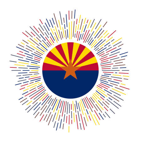 Arizona sign. Us state flag with colorful rays. Radiant sunburst with Arizona flag. Vector illustration. Illusztráció
